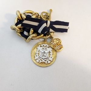 Juicy Couture Gold & Blue Ribbon Crown Bracelet